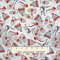 Yard Christmas Scarf Mitten Skate Primitive Toss Cotton Fabric Coventry Fabric