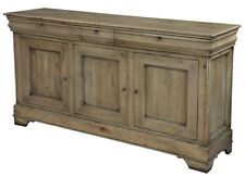 "70"" Long Alessia Sideboard Cabinet Au Lait Buffet  Driftwood Finish Solid Walnut"
