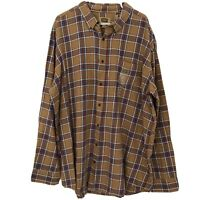 The Foundry Men's Button Up Flannel Brown Plaid Long Sleeve Shirt Size 2XL Tall
