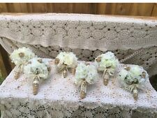 5 Pcs Burlap Lace Rustic Wedding Bouquet Package,