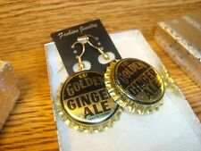 Vintage Golden GINGERALE Bottle Cap - Soda POP Gold Tone hoop Earrings NEW