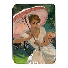 Chica Pin-Up Sombrilla Rosa Poster Kindle Paperwhite Toque PU Funda de Piel