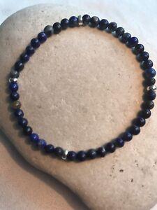 Lapis Lazuli Gemstones - Stretchy Men's Bracelet - 925 Sterling Silver Free P&P