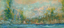 Cazenovia Lake Regatta  3-1/2 x 8 in. Original Oil on panel Hall Groat Sr.
