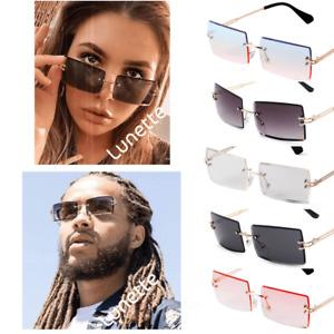 Sonnenbrille Rahmenlos Rechteckig und Randlos - Lunette Damen und Herren UNISEX