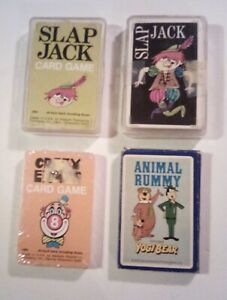 Lot of 4 Vintage Card Games - Crazy Eights, YOGI BEAR Animal Rummy, 2 Slap jack