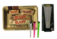 RAW MINI ROLLING TRAY SMOKING GIFT SET 3PC CONE HOLDERS TIPS PAPERS MAT KIT UK