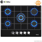 """28"""" Gas Cooktop 5 Burners Drop-in Tempered Glass Cast Iron Bracket Stove LPG/NG photo"""