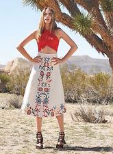 alice + olivia 'giselle' embroidered cotton floral midi skirt - white 2 XS NWT