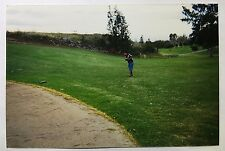 Vintage 90s PHOTO Man Shooting Playing Golf On Grass Next To Sand Trap