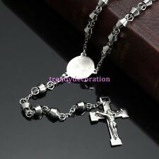 New Silver Rosary Bead Stainless Steel Men Women's Cross Pendant Chain Necklace