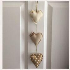Handmade Fabric Set Of Three Shabby Chic Vertical Hanging Hearts