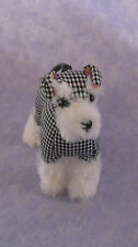 Fuzzy Nation Wristlet Change Purse Schnauzer Black/White Houndstooth Silver Paw