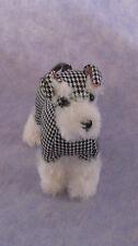Fuzzy Nation Wristlet Change Purse Schnauzer Black/White Houndstooth Silver Paw