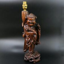 More details for early 20th century japanese hardwood carved figural lamp base