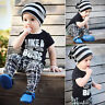 2 Pz Bambini Neonato Bambino T-Shirt Top + Pantaloni Casual Completi Vestiti Set