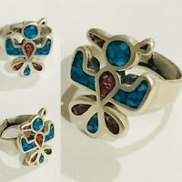 Sterling Silver Southwestern Turquoise and Coral Chip Eagle Ring Size 6