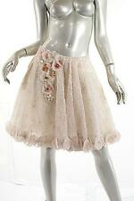 ANAESSIA Stunning Sheer Ivory Rosette Skirt w/Bead Appliqué NWT $1125 - Size S