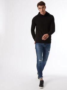 BURTON MENSWEAR LONDON Mens Black Overhead Hoodie Sweatshirt Blouse Top