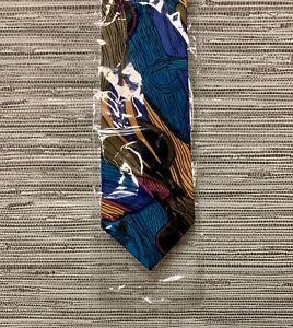 Silk Tie, Blue/Turquoise/Multi, New, Retro