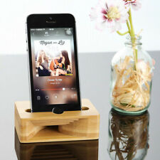Cell Phone Stand With Sound Amplifier, IPhone Holder Natural Bamboo Wood Dock