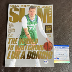 Luka Doncic Signed Slam Magazine GOLD Metal Edition  /94 Psa/Dna Coa VERY RARE