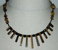 VTG Silver Toned Brown Tiger's Eye Stone Black Glass Bead Choker Necklace