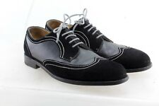 Awl and Sundry Black Suede Leather Saddle Derby Brogue  11.5