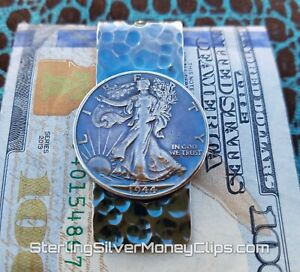 36.1g Phantom 1944 WALKING LIBERTY 935 925 Argentium Sterling Silver Money Clip