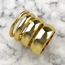 Yellow Gold D-Shaped Band Wedding Rings Medium Weight Choice of Widths and Size