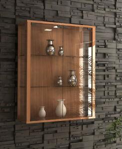 Glass Display Cabinet Wall Mounted Walnut Toys Vapes Optional Light