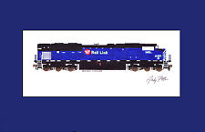 """Montana Rail Link SD70ACe 11""""x17"""" Matted Print by Andy Fletcher signed"""
