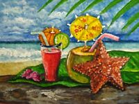 Painting Ocean Tropical Cocktail Alcohol Drink Glass Starfish Beach ACEO Art