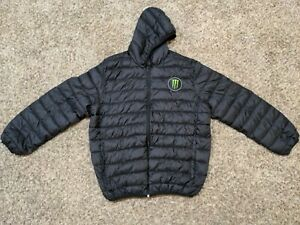 Monster Energy Puffer Jacket Athlete Only Snowboard Black Mens Size XL