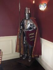 Rare Medieval Knight Suit Of Templar Armor W/Lance Combat Full Body Armour Stand