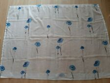 PAIR OF THIN WHITE HANGING VOILE CURTAINS WITH BLUE FLOWER DESIGN
