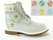 "TIMBERLAND SIGNATURE LOGO GHOST WHITE WOMENS 6"" INCH PREMIUM WATERPROOF BOOTS US"
