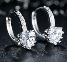 Aretes Corazones de Diamantes Para Mujer y Niña Bañado en Platino ~ Earrings