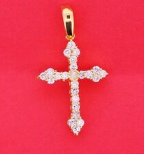 Cross Pendant 0.75 Carat Diamonds 10k Yellow Gold 32mm Best Gift Affordable