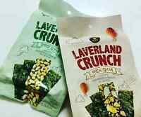 Korean Gourmet LAVERLAND CRUNCH Crispy Seaweed Snack, Rice Pop/Almond 4~8pack