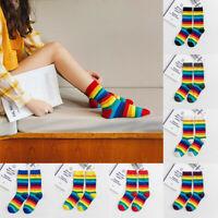 Women's Girls Casual Cute Rainbow Printed Stockings Tube Casual Cotton Socks