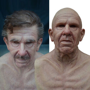 Realistic Elder Old Man Latex Mask Headgear for Masquerade Halloween Party