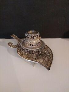 Antique Filigree Sterling Silver Leaf Shaped Candlestick Holder