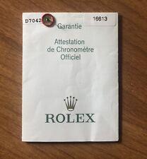 Rolex 16613 Warranty Guarantee Garantie Garanzia Papers Submariner Vintage