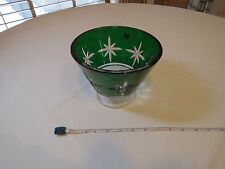 Waterford bowl green Marquis footed compote cut star comport candy serving RARE