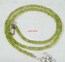 3-4MM Natural Green Peridot Faceted Beads Beaded Necklace Strand Rich Jewelry