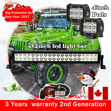 "32 inch 180W LED Light Bar + 2X 4"" CREE LED Work Lights Pods Offroad SUV Ford 30"