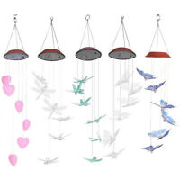 Outdoor Waterproof Solar Panel LED Heart Wind Chimes Home Garden Decor Light