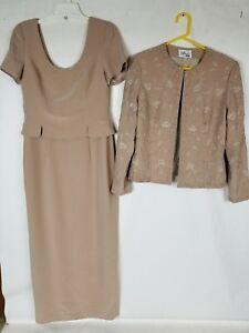 AVANTI DESIGNS Mothers Occasion Social Formal Tan Dress Beaded Jacket Siz 12