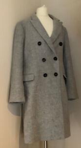 Zara Women Grey Wool Blend Coat Size Eu L Uk 14/16